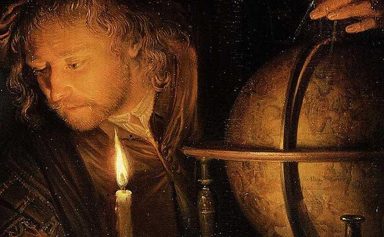 астроном зі свічкою, художник Герард Доу